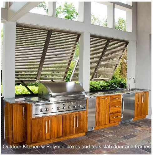 Modern Outdoor Kitchen With Natural Wood Bases & Ss Equipment Adorable Patio Kitchens Design Inspiration Design