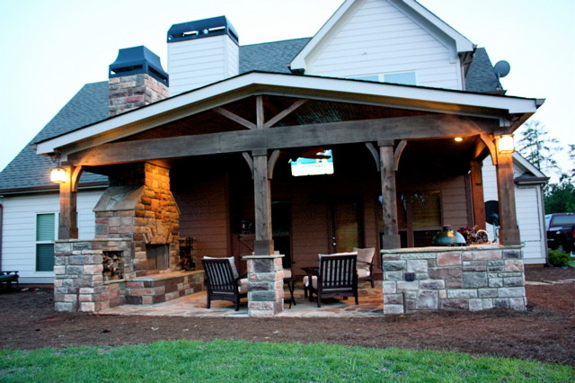 Outdoor Living Area addition to rear of home traditional-patio