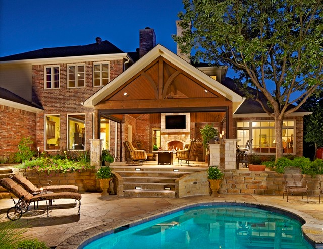 Outdoor Living Area with Pool - Traditional - Patio ... on Ab And Outdoor Living id=38480