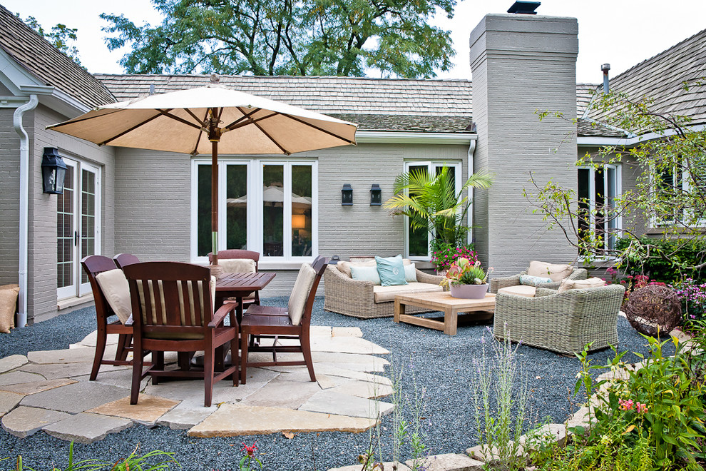 Transitional backyard gravel patio photo in Chicago with no cover