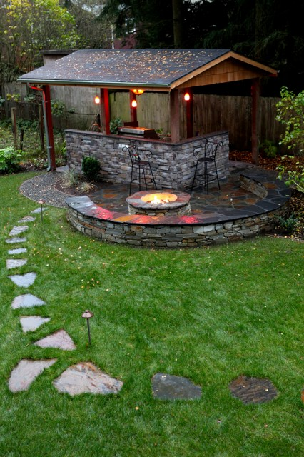 Outdoor living pavilion - Traditional - Patio - Seattle - by Father Nature Landscapes of Tacoma, Inc.