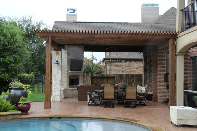 Outdoor living project patio cover with fireplace for Tradition outdoor living