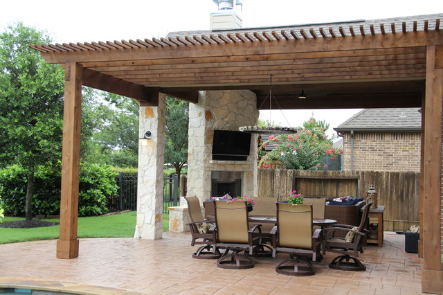 Outdoor Living Project: Patio cover with Fireplace, Pergola, and Outdoor  Kitchen traditional- - Outdoor Living Project: Patio Cover With Fireplace, Pergola, And