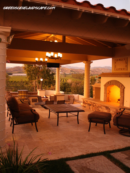 Outdoor living room and fireplace patio los angeles for Outdoor room with fireplace