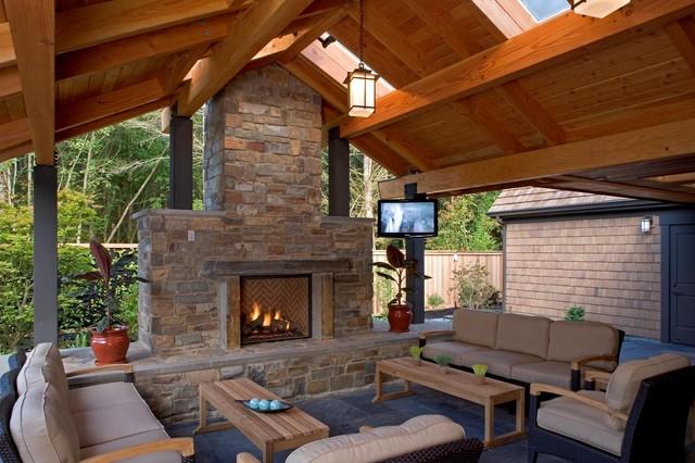 Outdoor Living Space Mediterranean Patio Seattle