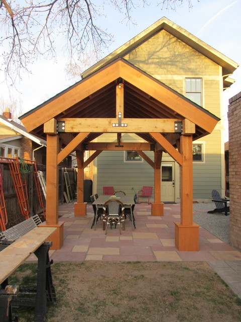 Inspiration for a rustic patio remodel in Denver - Outdoor Living Space / Patio Cover / Pergola / Cedar Post And Beam