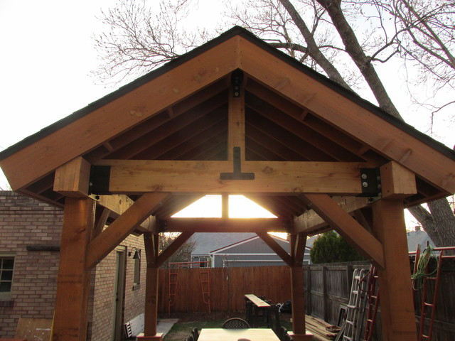 Painting Rough Cedar Ceiling Beams: Outdoor Living Space / Patio Cover / Pergola / Cedar Post