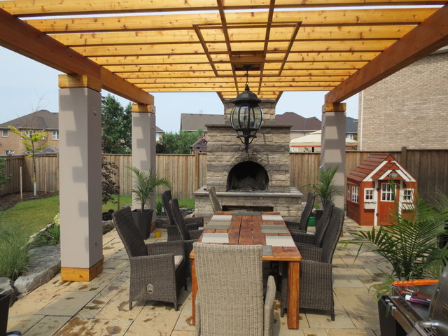 Outdoor Living Space Pergola Mediterranean Patio