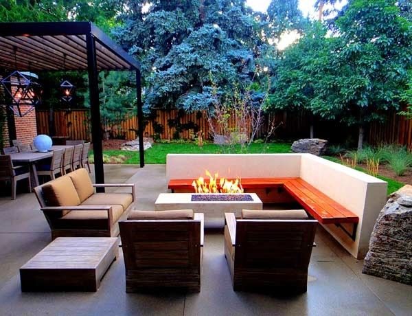 Magnificent Outdoor Living Space With Floating Bench And Fire Pit Bralicious Painted Fabric Chair Ideas Braliciousco