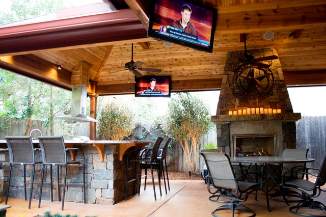 Outdoor Living Spaces - Rustic - Patio - Houston - by Wood ... on Outdoor Patio Enclosures  id=99570