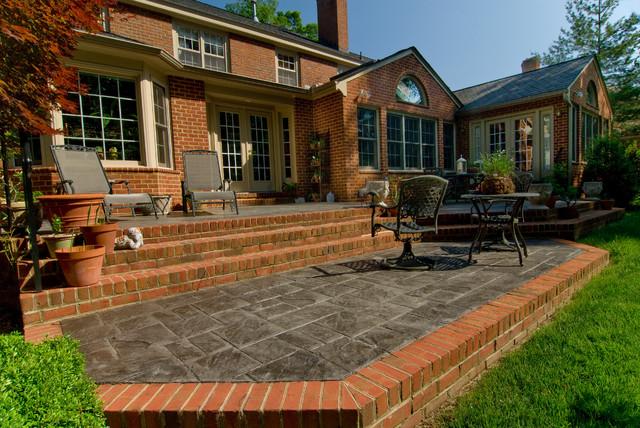 outdoor living with multi level brick patio traditional patio - Multi Level Patio Designs