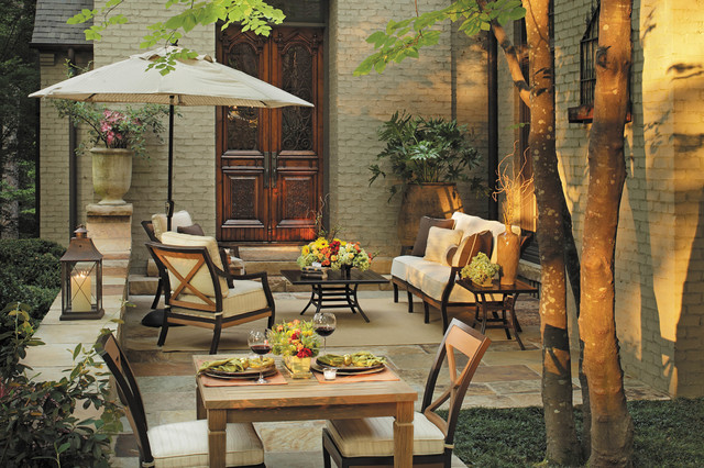 Outdoor Lounge Chairs With Patio Dining Set Traditional