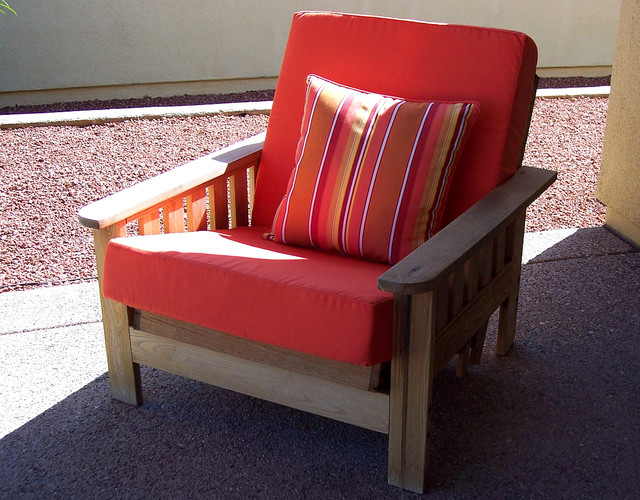 Outdoor Mission Chair Cushion And Pillow Southwestern Patio