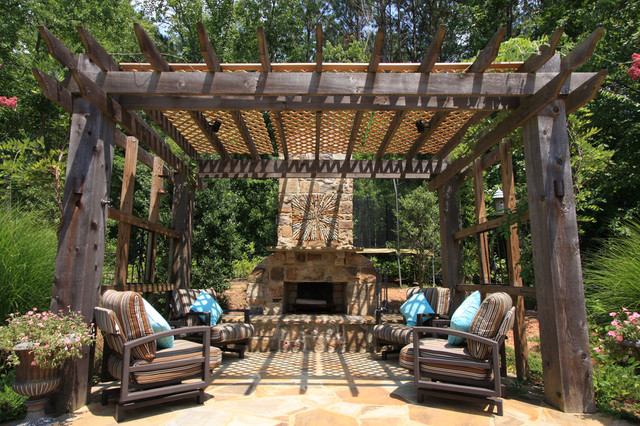 Outdoor Oasis - Pools, Spas, Fireplaces, Loggia, etc. rustic-patio