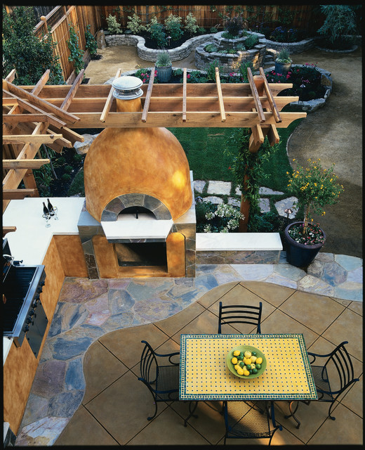 Outdoor Patio and Pizza Oven - Mediterranean - Patio ... on Outdoor Patio With Pizza Oven id=28160