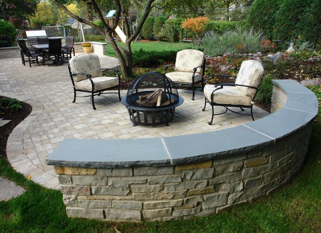 Outdoor Patio Built In Grill Seatwalls Water Featuretraditional Chicago