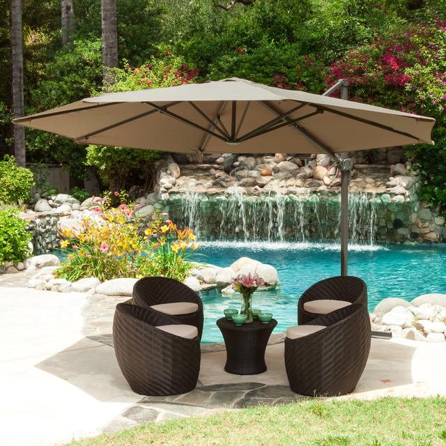 Outdoor Patio Furniture Featuring Canopy Umbrella