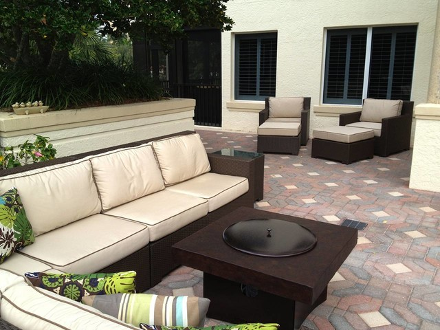 Outdoor Patio Furniture Set with Gas Fire Pit Table contemporary-patio