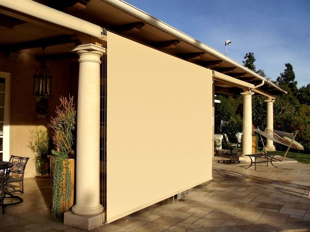 Outdoor patio roller shades mediterranean patio los for Exterior window shade