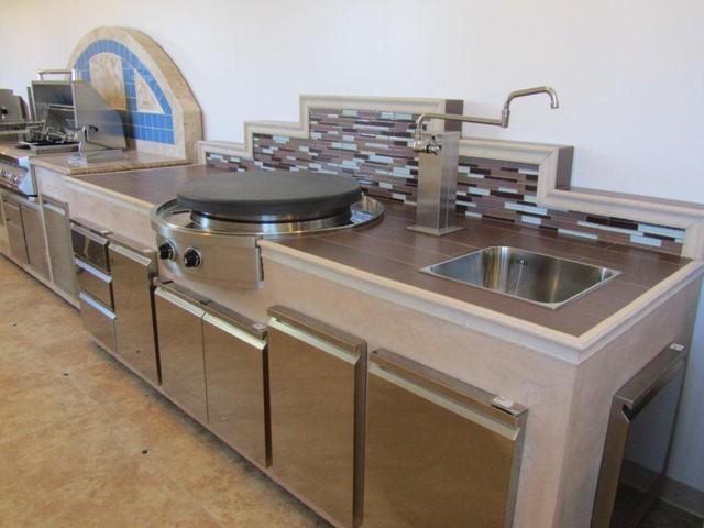 Outdoor patio store kitchen space - Mediterranean - Patio - San ...
