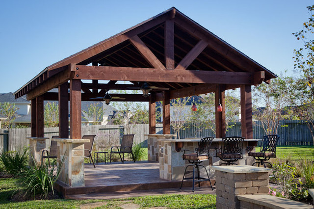 Outdoor patio structure for entertaining in katy tx for Outdoor kitchen roof structures