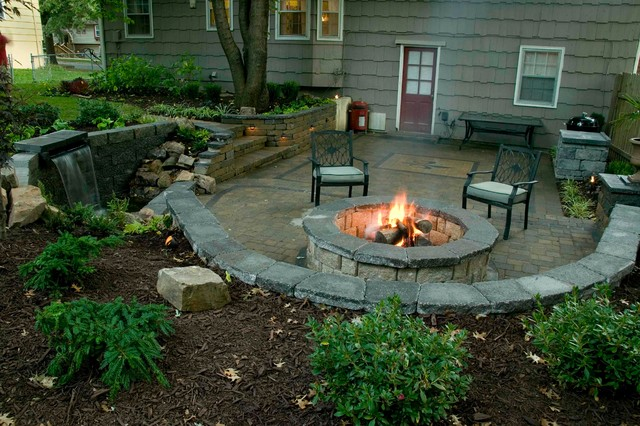 Outdoor Patio with firepit - Traditional - Patio - Kansas city - by Stone Solutions