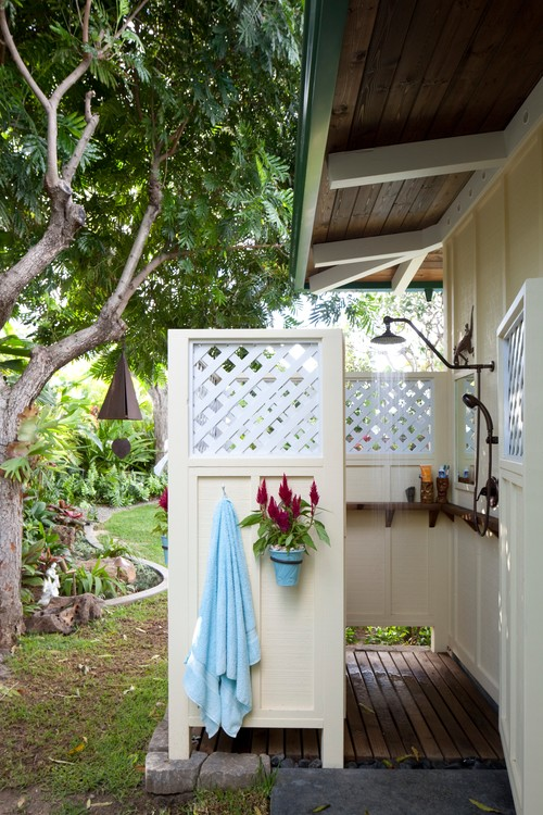 Things Every Outdoor Shower Needs to Help You Relax to the ... on beach house design, dining room house design, outdoor bath house design, bedroom house design, porch house design, laundry house design, gym house design, toilet house design, balcony house design, bathroom house design, outdoor dog house design, pool house design, construction house design, nice furniture house design, storage shed house design, outdoor bathroom, patio house design, outdoor kitchen designs,