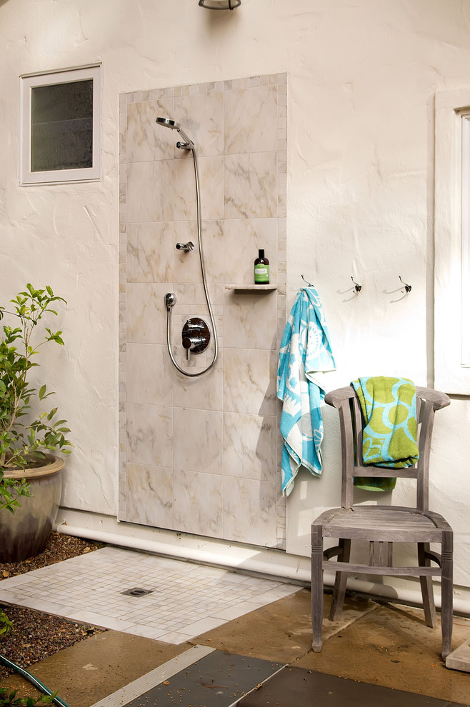 Inspiration for a small contemporary backyard tile outdoor patio shower remodel in San Francisco with no cover