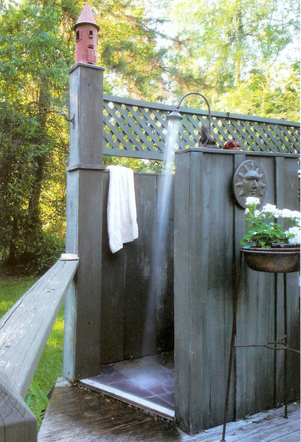 Outdoor Shower in the Woods tropical-patio