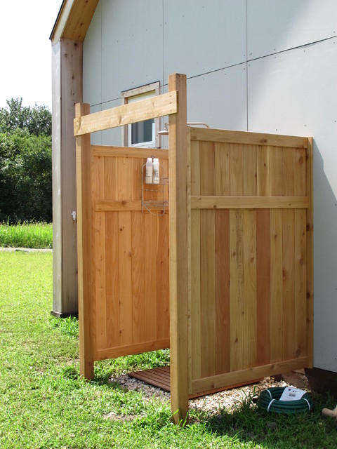 Outdoor shower contemporary patio boston by nilsen for Outdoor shower tower