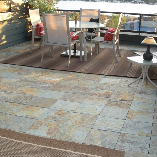 Outdoor slate floor tiles contemporary patio chicago for Exterior floor tiles