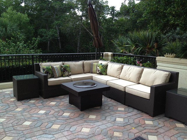 Outdoor Sofa Set With Gas Fire Pit Table Contemporary Patio