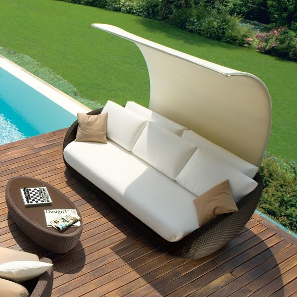 outdoor sofa with shade outdoor sofas by home infatuation. Black Bedroom Furniture Sets. Home Design Ideas