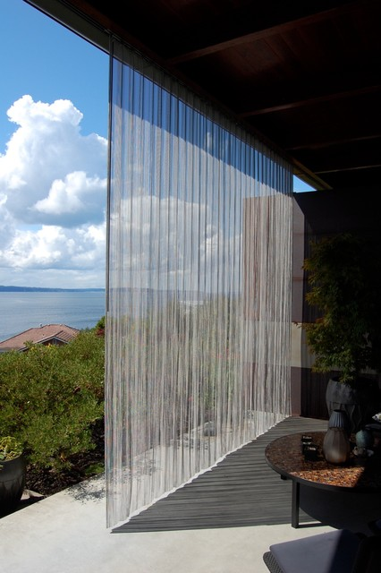 Outdoor stainless steel curtain - Industrial - Patio ...