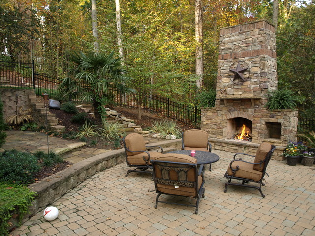 Outdoor Stone Fireplace and Stone Pathway Traditional