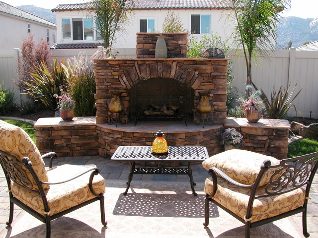 Outdoor Stone Fireplace Mediterranean Patio San