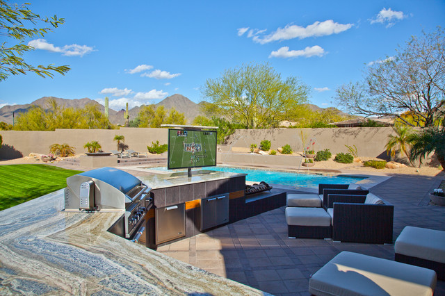 Outdoor TV Lifts Contemporary Patio Phoenix on Game Room Decorating Ideas With Pool Table