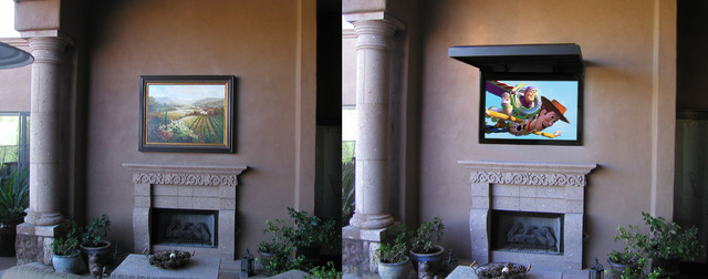 Outdoor TV with TVCOVERUPS Traditional Patio Orange County