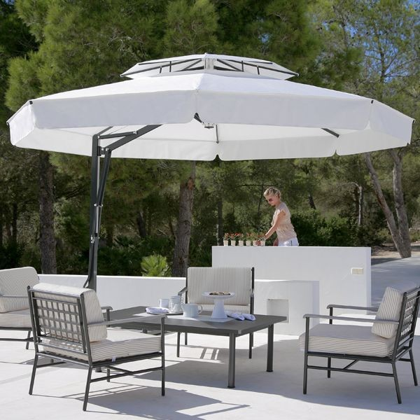 Beautiful Outdoor Umbrella In Black And White Modern Patio