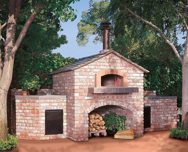 outdoor wood fired pizza oven gable roof traditional patio