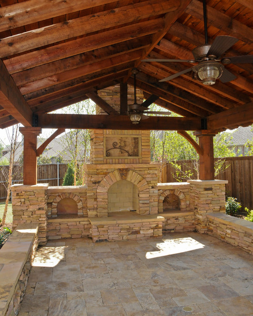 Overhead Structure/Grilling Station/Fireplace traditional-patio