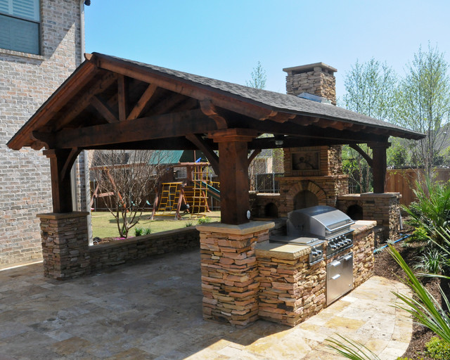 Overhead structure grilling station fireplace for Traditional outdoor kitchen designs