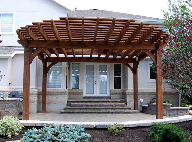 Oversize Pergola Front Entrance Makeover - Traditional - Patio ... on curved deck with pergola, wire pergola, front yard pergola, house plans ranch style with pergolas, white cedar pergola, front porch pergola, back porch pergola, house without front door, attached pergola, house with porch front door,