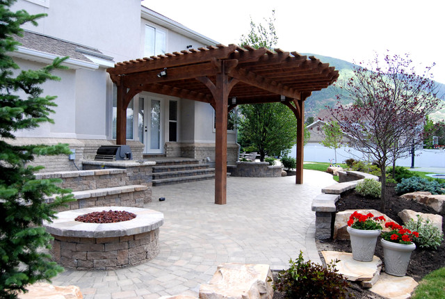 Oversize Pergola Front Entrance Makeover - Traditional - Patio ...