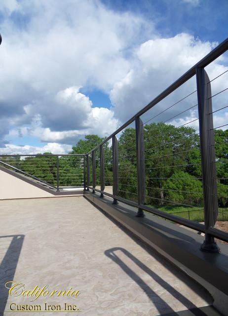 Palo alto ca exterior iron cable railing contemporary - Houzz palo alto ca ...