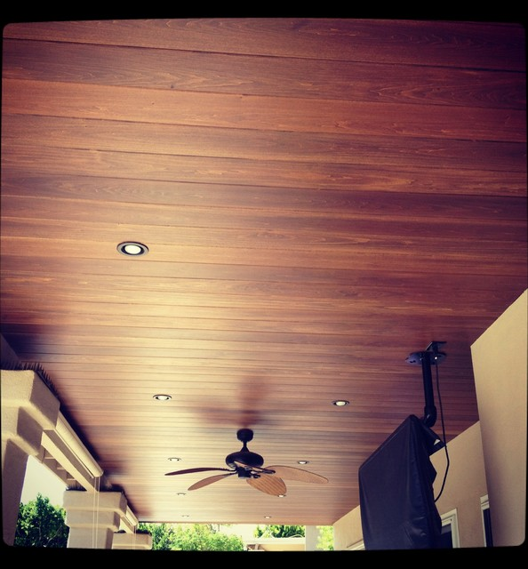 Patio Ceiling With Wood Planking Traditional Patio