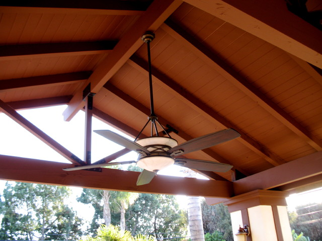 Patio cover traditional patio los angeles by for Vaulted ceiling with exposed trusses