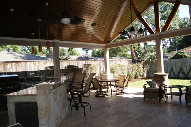 Patio cover in houston rustic patio houston by for Rustic covered decks