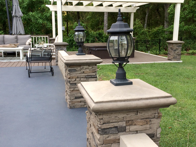 Exterior Faux Stone Columns : Patio designs with faux stone and brick traditional
