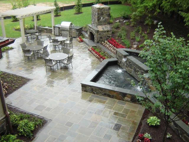 Patio, Fountain, Fireplace traditional-patio